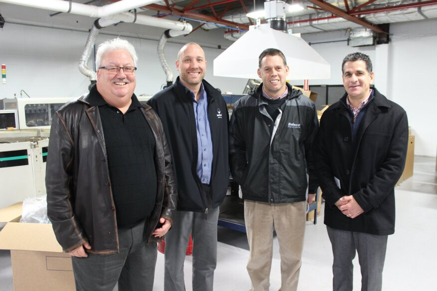 From left to right: Art Harre, Haviland Pool and Spa chief sales officer, David O'Brien,  Haviland Pool and Spa national sales manager, Jeff Hammersmith, Baleco International, general manager, and Carmine Domenicone Baleco International, sales manager