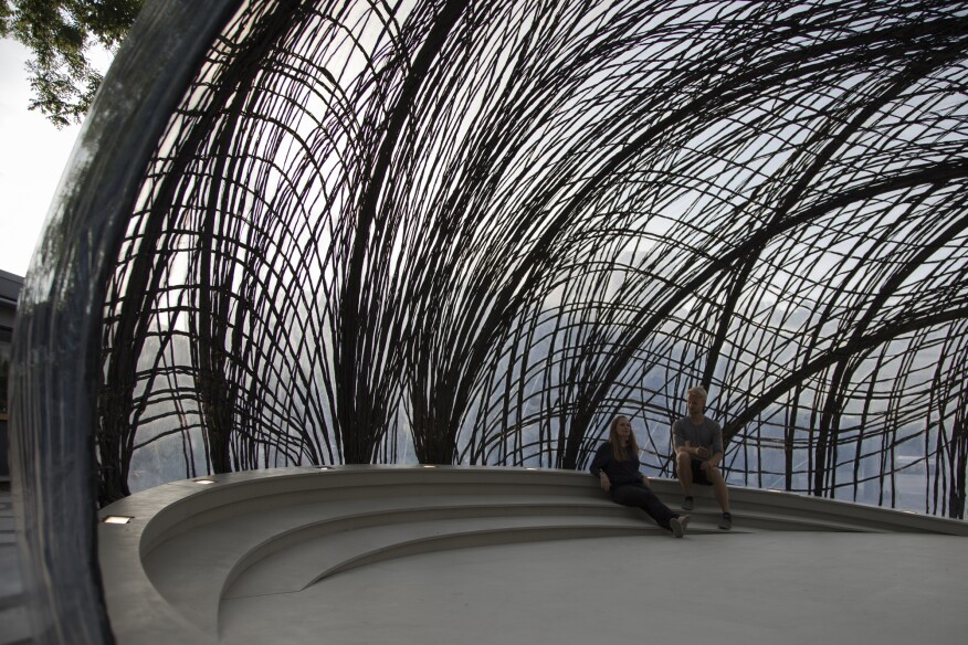 Inside the 2014-2015 iteration of the biomimetic research pavilion at the University of Stuttgart, in Germany, that this year uses bundled strands of carbon fiber to support a translucent ETFE membrane.