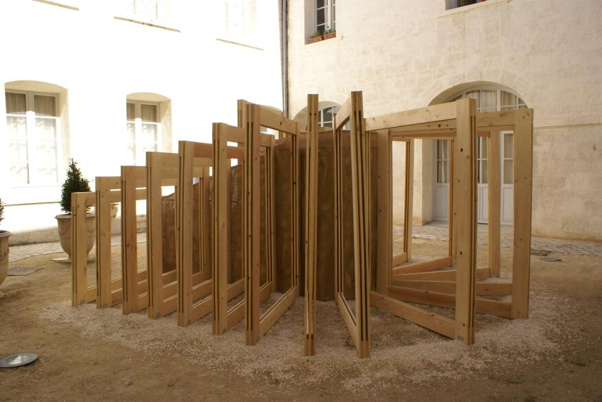 A series of wood frames symbolizing photos in an album was installed in Montpellier by Francois Fabien and Mailys Sarrazin of Bordeaux, France.