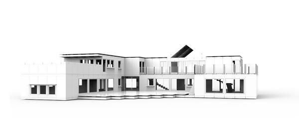A model of Irish architect Damien Murtagh's 2009 Longacres House in Portrane, Ireland, created using his Arckit modeling components.