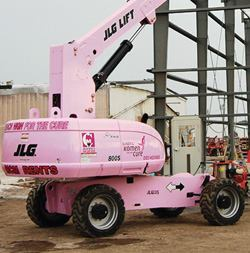 Painted a special rosy shade, two JLG Model 800S telescoping boom lifts will raise money and awareness over the next 54 months for the Susan G. Komen Foundation and breast cancer, respectively.