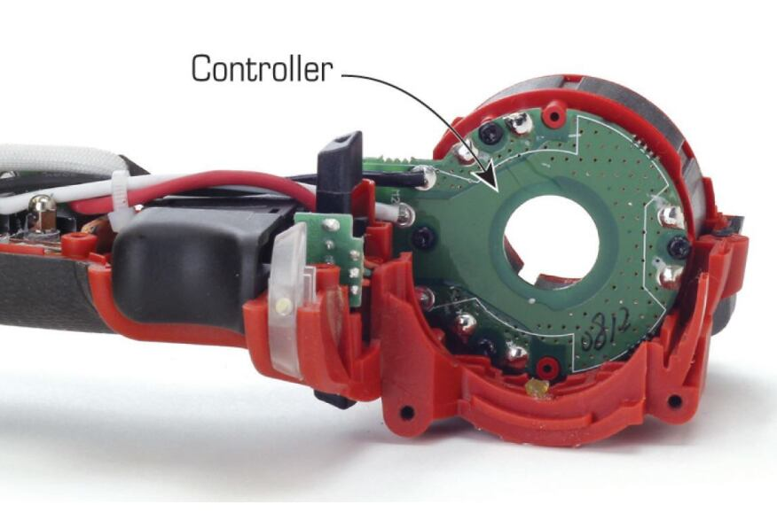 Because it lacks brushes and a commutator, a brushless motor must be electronically commutated. A controller senses the position of the rotor and relays that information to the microprocessor that regulates the tool.