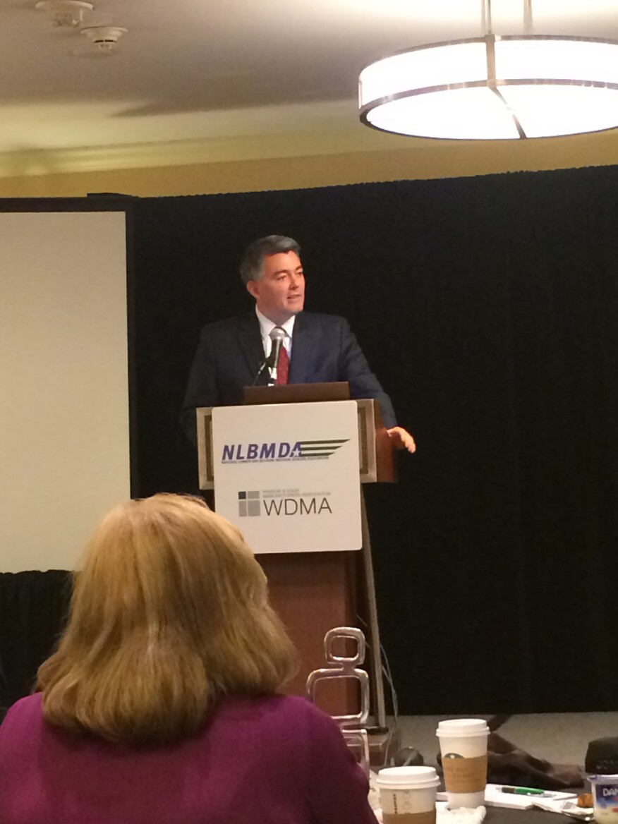 Sen. Cory Gardner, R-Colo., addresses the crowd at the NLBMDA spring meeting on March 24, 2015.