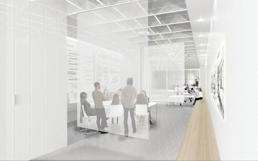 A Collective-LOK rendering of the redesign shows how translucent scrims will help subdivide the space.