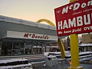 The first McDonald's Corporation store, in Des Plaines, Ill., after Stanley Meston's Golden Arches style.