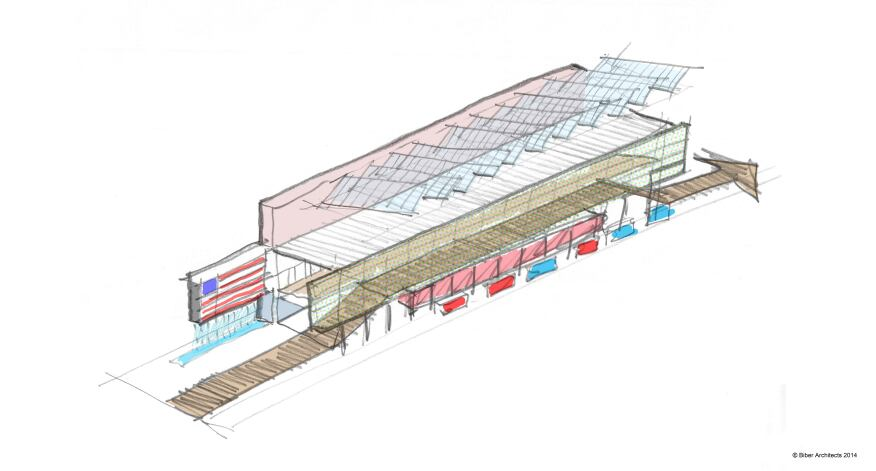 A sketch of the pavilion's exterior.