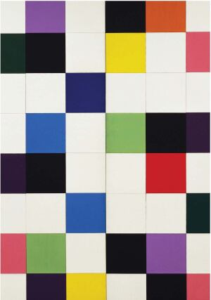 Squares of colored construction paper led to Ellsworth Kelly creating Colors for a Large Wall in 1951.