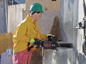 Safety is a primary concern when cutting concrete.