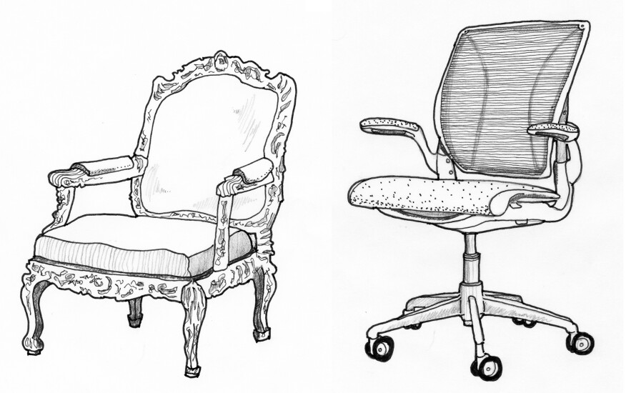 Nicolas-Quinibert Foliot's Fauteuil à la reine chair and Niels Diffrient's World Chair