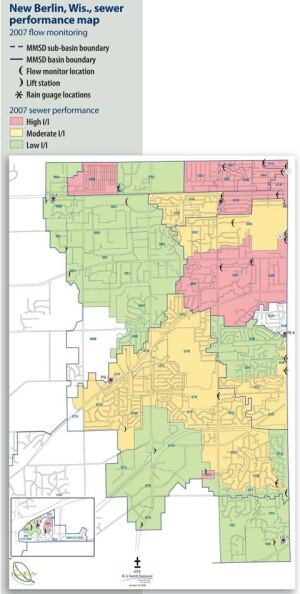 A sewer performance map prepared for the New Berlin Water & Wastewater Division identifies areas of low, moderate, and high infiltration and inflow.