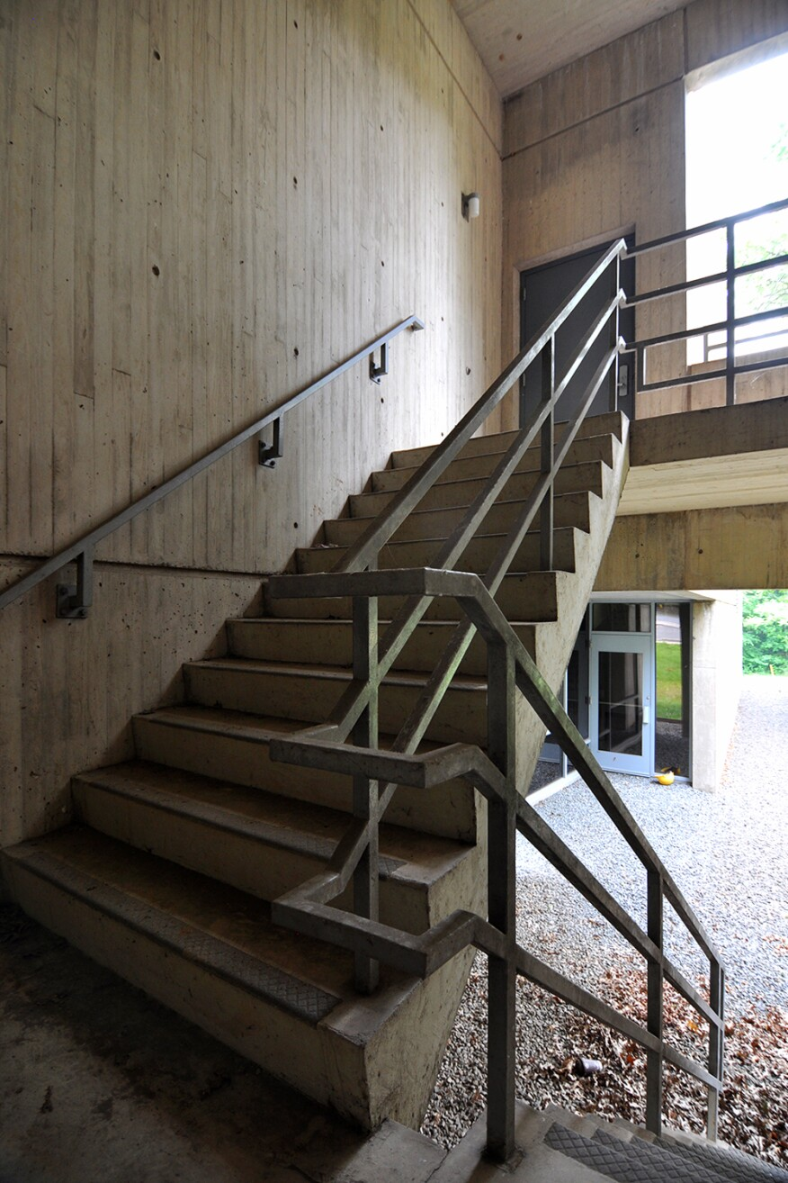 Exterior stairwell at Marcel Breuer's American Press Institute, Reston, Va.