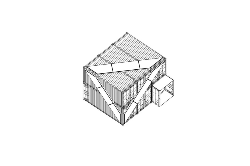 "Axonometric of ""The Cubes"" as they originally appeared at the Whitney Museum (now the Met Breuer)"