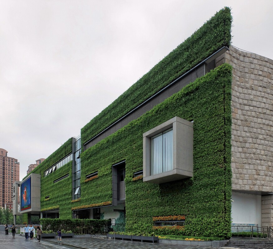The vegetated facade at Perkins+Will's Shanghai Natural History Museum.