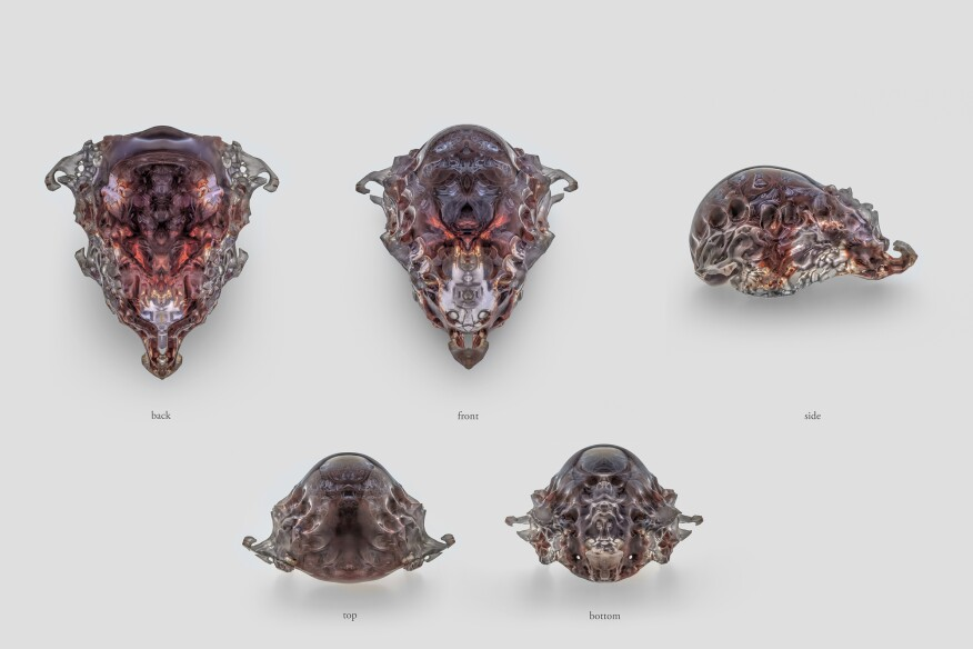 Compilation of views, Mask 1, Vespers collection, Present series. Designed by Neri Oxman and members of the Mediated Matter Group and 3D printed by Stratasys.