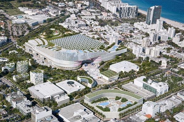 Miami Beach Convention Center proposal from developer South Beach ACE (OMA with UIA, Michael Van Valkenburgh Associates, Raymond Jungles, and Tvsdesign).