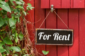 Old metal sign with the inscription For Rent; Shutterstock ID 241164931