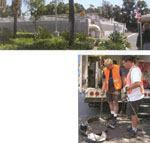 Above: The EI Toro Water District wastewater treatment facility serves 50,000 customers in Southern California. Right: ETWD supervisor Ed Peterson, left, and crew member Ty Banagas lower the mainline camera into a manhole for an inspection. Photos: Pearpoint Inc.