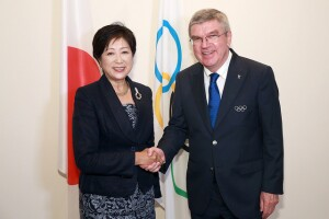RIO DE JANEIRO - BRAZIL - 20th Aug 2016. IOC President Thomas Bach during a meeting with the new Tokyo Governor Yuriko Koike at the Olympic Club in Rio De Janeiro.