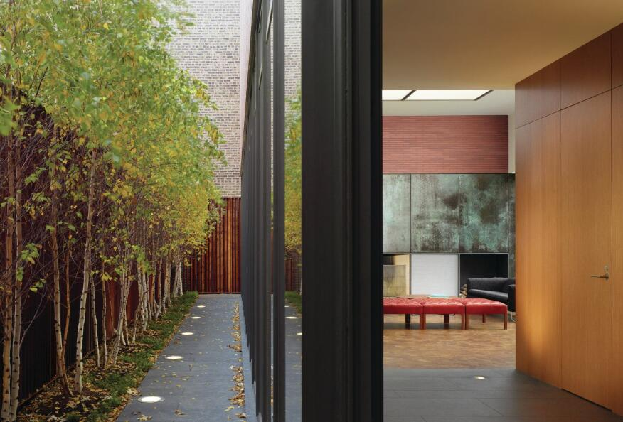 Behind the slatted Cor-Ten fence is a row of River Birch trees, uplit by fixtures from Bega, that provide additional privacy screening to the glazed first floor of the house.
