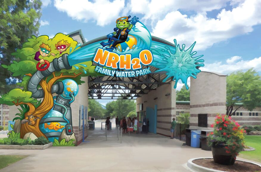 A rendering by FORREC of the re-designed entry sign with new characters.