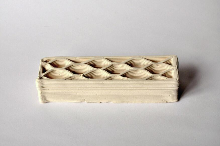 3D-printed brick prototypes.