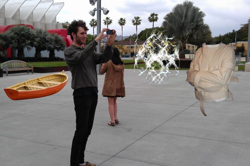 In this visualization of EEG AR Things We Have Lost, John Craigman Freeman paired the tangible and intangible lost items with virtual objects, 2013.