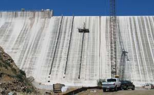 Initial surface work has been completed in what will be the tallest dam raise in the United States. Fraco Products Ltd. and American Hydro are raising the height of the San Vicente Dam, which is owned and operated by the City of San Diego, to 337 feet from 220 feet. The $568 million project is expected to be completed in 2012. Photo: Fraco Products Ltd.