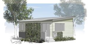 One of five manufactured home configurations designed for the Mountain View Mobile Home Park Improvement Program.
