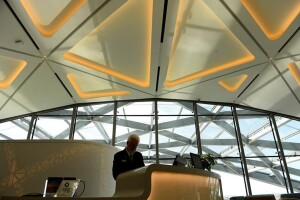 DENVER, CO - NOVEMBER 19: Concierge Tom Ratty gets the front desk prepared for opening at the new Westin DIA hotel at the south end of Denver International Airport in Denver, Colorado, on November 19, 2015. The over $500 million hotel will open Friday to the general public. This ultra-modern, world class hotel and conference center is the metro area's newest luxury hotel with 519 rooms.  The hotel is less than 200 feet from the terminal.  By April 2016, guests can also connect to downtown just 37 minutes by rail via the transit center in the lower portion of the hotel.  (Photo by Helen H. Richardson/The Denver Post)