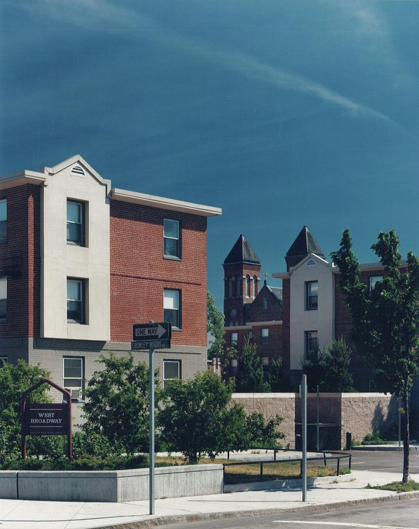 The entrance to the West Broadway housing development, after renovation in accordance with the 1983 P/A Award-winning plan.