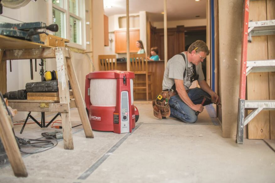 The BuildClean system helps keep a Roberts Construction jobsite cleaner and safer for homeowners and crews.