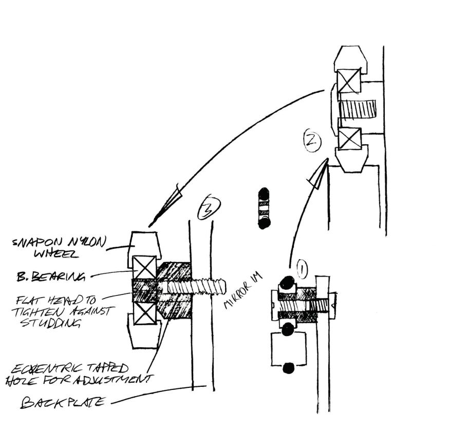 Dyson's desire for the various components of his designs to have a mechanical articulation can be seen in his sketches of the slide mechanism for the CSYS luminaire.