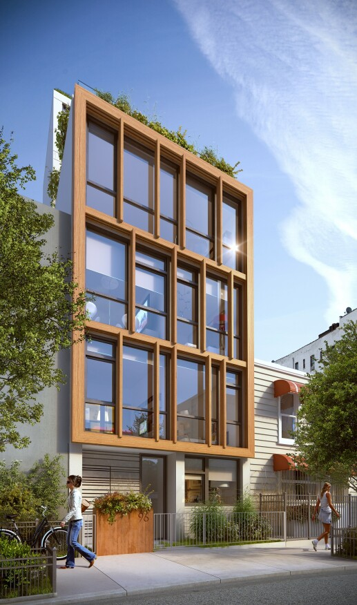 Jorge Mastropietro's self-developed 96 16th St. in Brooklyn features a wood frame, glass-and-wood façade, and triple-glazed windows. The five-story condominium will have four units with two bedrooms each.