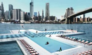 AMBITIOUS POOL GAINS ATTENTION  Three young, New York-based architects have designed a pool that can float on the East River, with walls that act as a passive filtration system to make the water suitable for humans.