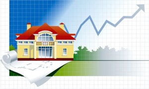 Vector illustration with facade of an two-storeyed building on background with Chart and plan