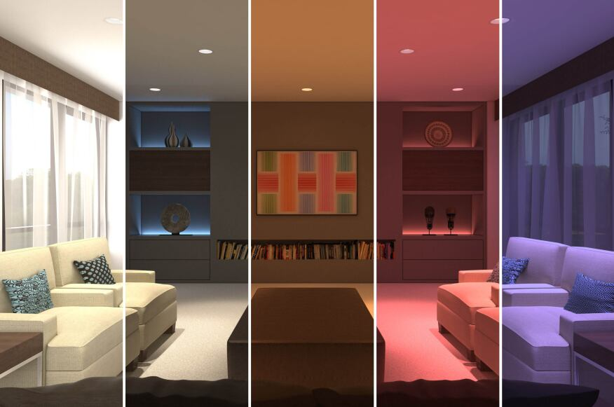 A rendering of USAI Lighting's Infinite Color+ technology in application.