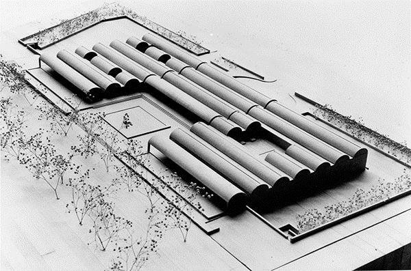 Kimbell Art Museum site model (circa September 1968), the fourth version of the design.