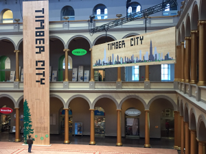 Signage at the entrance to the Timber City exhibit at the National Building Museum, 2016-2017
