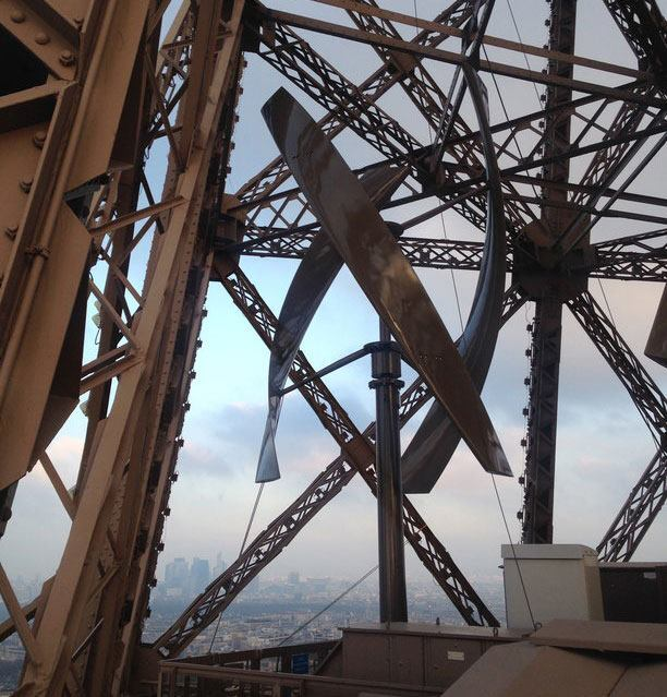 One of two wind turbines recently installed on the Eiffel Tower in Paris.