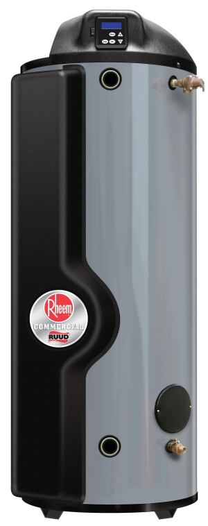 The new Rheem-Ruud Spiderfire line of condensing commercial water heaters offers a wide range of BTU inputs, all with thermal efficiencies of 92% to 95%. The most powerful unit has an input of 350,000 BTUs per hour and can deliver 460 gallons of water per hour at a 100-degree rise. Lower-input models (130,000, 160,000, 199,000, 250,000, and 300,000 BTUs per hour) are also available. All come with a 100-gallon storage tank and can operate on natural gas or liquid propane and can be installed as a single-pipe, power-vented product, or as a two-pipe, power-direct-vented product. The unit can be vented through standard PVC or CPVC tubing, rather than more expensive, large-diameter metal B-vent. rheem.com