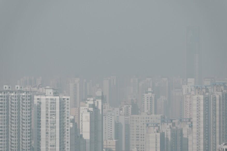 A smoggy Shanghai skyline.