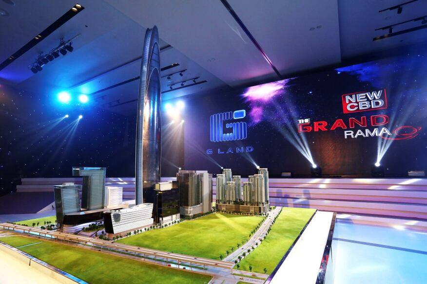 This photo released by Grand Canal Land Public Company Ltd. shows a scale model of a skyscraper that a property developer plans to build in Bangkok that will be among the 10 tallest buildings in the world when completed in 2019. The 125-floor tower will rise 615 meters (2,018 feet) and include a luxury hotel, offices, and an observation deck with panoramic views of the Thai capital, the developer said in a statement.