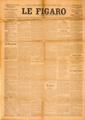 "F.T. Marinetti, ""The Founding Manifesto of Futurism"" (""Le Futurisme""), Published in Le Figaro (Paris), Feb. 20, 1909; Newspaper, 61.2 x 43.8 cm; Private collection"