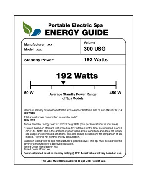 The 411 on labels: This sample label depicts the information that  manufacturers will need to provide for their spas. The labels will  indicate how an individual spa's energy efficiency rate compares with  all other spas. In the example shown, 192 watts falls in a range of  power ratings.