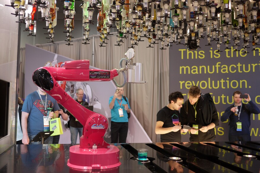 Here's one way to skip the small talk: The Makr Shakr robotic arm developed by MIT and the design firm Carlo Ratti Associati makes drinks quickly and accurately. No tip required.