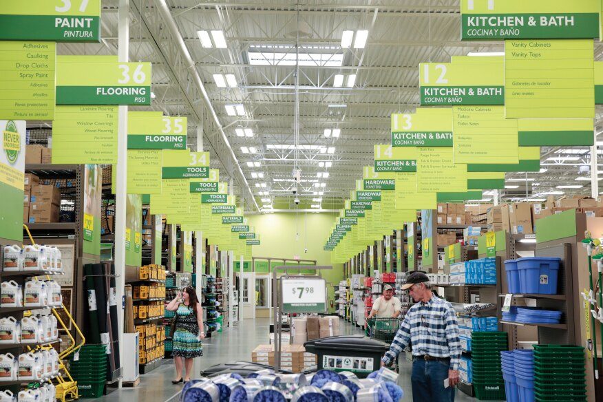 "Powerful Inducements. The new Friedman's store features two extra-wide central ""power aisles"" that make shopping friendlier and on-sale items easier to spot. The Express Yard display lets you stay inside and pick from all the materials stored outside."
