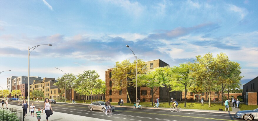 Rendering of the redeveloped Lathrop homes