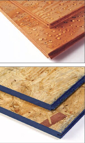 Plywood (top) and OSB (bottom) offer a choice typically made on the basis of price, application, and local climate conditions.