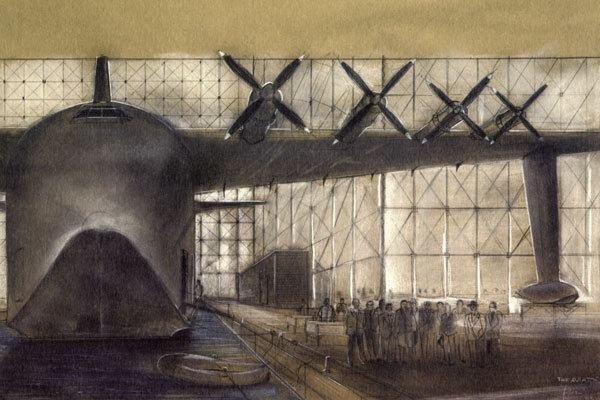 A Ferretti drawing of the hangar from The Aviator, Scorsese's 2004 movie about Howard Hughes, who was played by Leonardo DiCaprio.