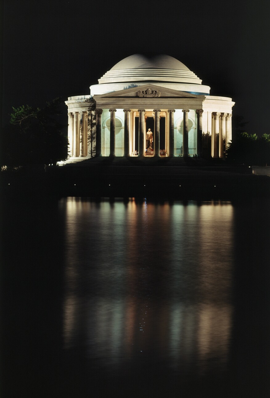 The Jefferson Memorial lighting scheme in the early 1970s.